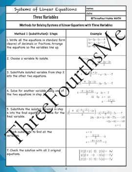 Systems Of Equations 3 Variables Scaffolded Notes Systems Of Equations Equations Scaffolded Notes