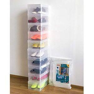 Juego de 3 cajas de zapatos de pl/ástico Contenedores apilables para entrenadores|Gabinete de almacenamiento de calzado|Armario de zapatos|Pukkr