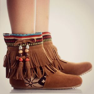 Tribal Fringe Ankle Boots Moccasin Indian Booties Aztec Rustic Fashion Trend   eBay