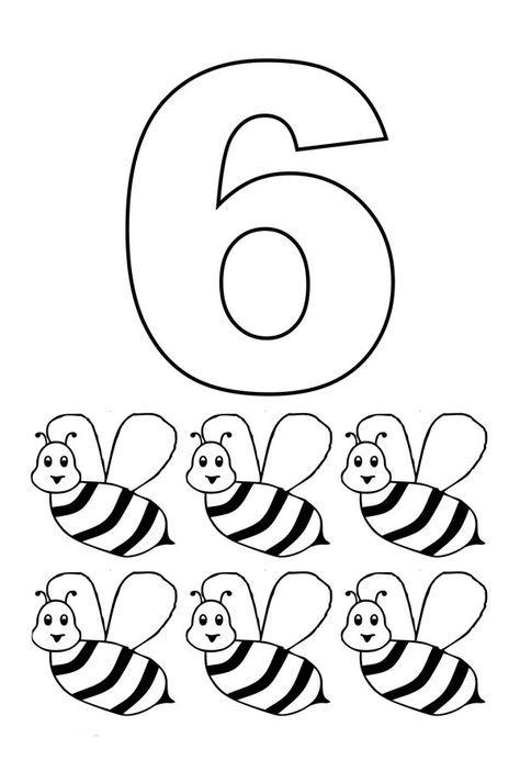 Numero 6 Com Figuras Paginas Para Colorir Tarefas Do Jardim De