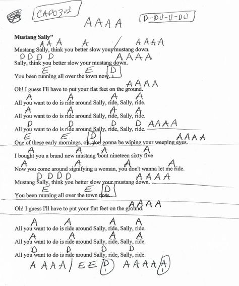 Mustang Sally Wilson Pickett Guitar Chord Chart Capo 3rd 2018