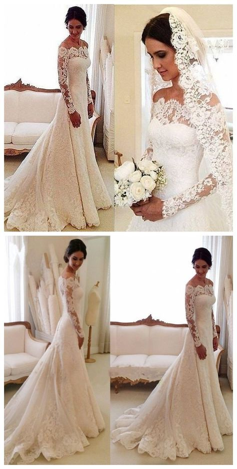 White Off The Shoulder Lace Long Sleeve Bridal Gowns Cheap Simple Custom Made Wedd Long Sleeve Wedding Dress Lace Long Sleeve Bridal Gown Wedding Dress Sleeves