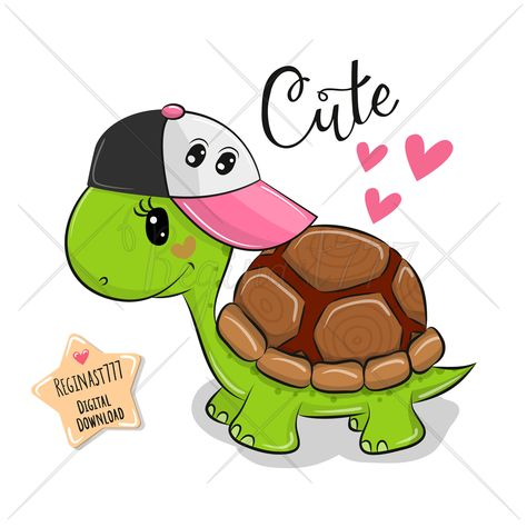 Cute Turtle With A Red Cap Royalty Free Vector Image Turtle Drawing Cute Turtle Drawings Cute Turtle Cartoon