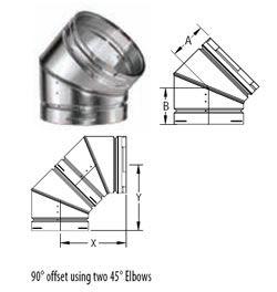 M G Duravent 10 Round Gas Vent 45 Degree Adjustable Elbow 10gvl45 10gvl45 Gas Vented Adjustable