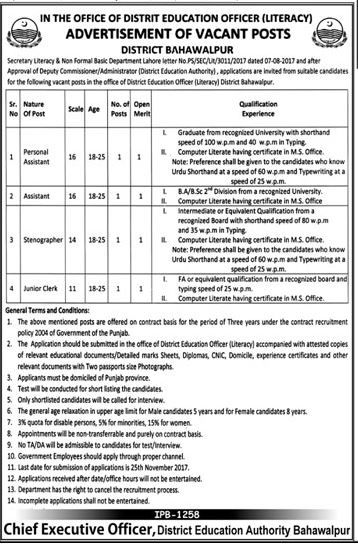 District Education Officer Jobs 2017 In Bahawalpur For Assistant - chief executive officer job description