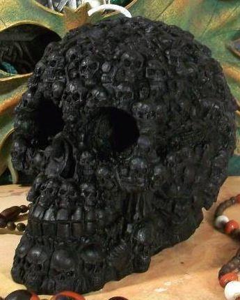 Black skull made of skulls