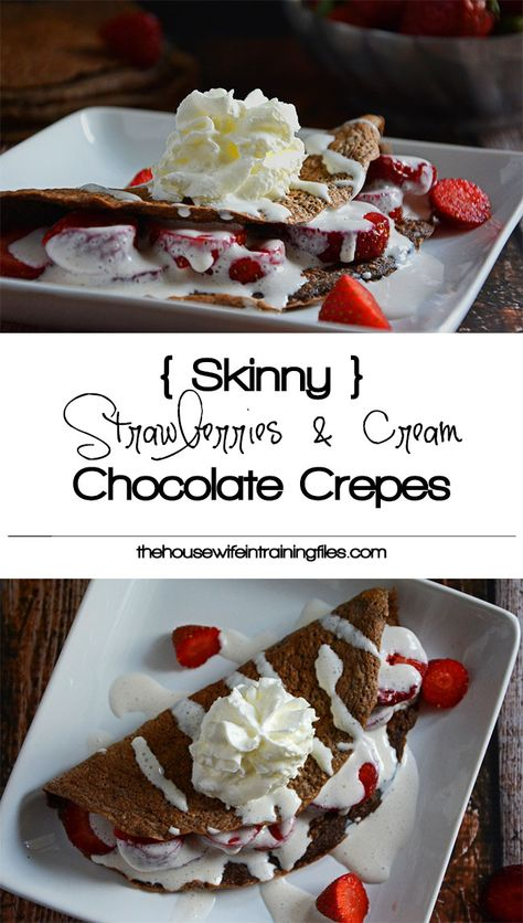 Strawberries and Cream Chocolate Crepes are a healthy and indulgent treat for a special breakfast or fancy dessert!  #glutenfree #healthy #breakfast