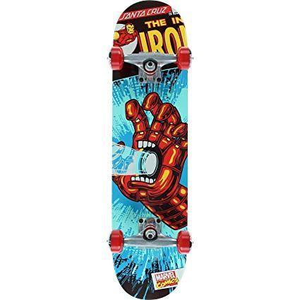 Santa Cruz Skateboards Marvel Iron Man Hand Mid Complete Skateboard 7 25 X 29 9 Review Skateboard Art Design Skateboard Iron Man Hand