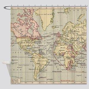 Lyingcat Mug Curtains Shower Curtain World Map