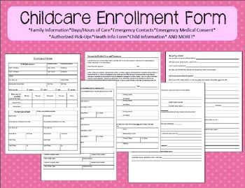 Preschool And Childcare Enrollment Form Home Childcare