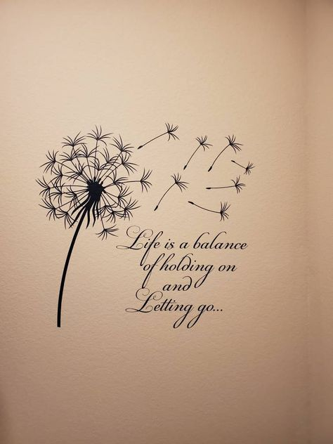 Moon Quotes Discover Dandelion Wall Decal Quote Life Is A Balance Holding On Letting Go- Inspirational Quote Wall Art Vinyl Lettering Bedroom Flower Decor Dandelion Quotes, Dandelion Wall Decal, Dandelion Pictures, Vinyl Wall Art, Wall Decals, Words Quotes, Life Quotes, Moon Quotes, Peace Quotes