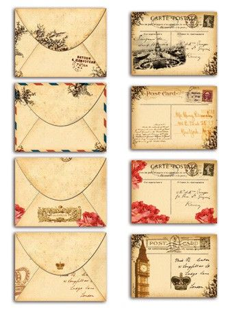 Mini Enveloppes Et Cartes Postales Vintage Ax002 1 1 Jpg 333 450 Vintage Printables Vintage Paper Vintage Postcards