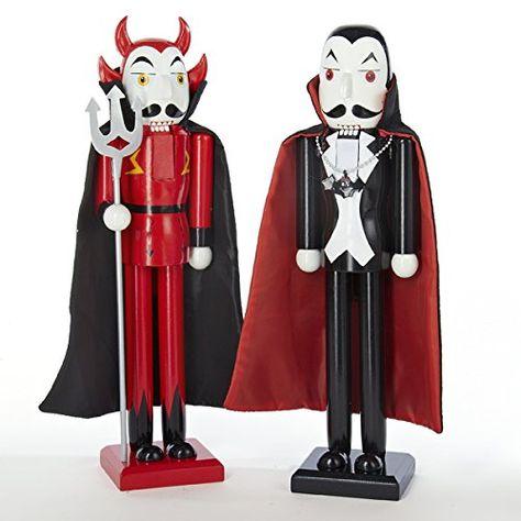 Kurt Adler 2 Assorted Halloween Nutcrackers 15 Dracula  Devil >>> Click image to review more details.