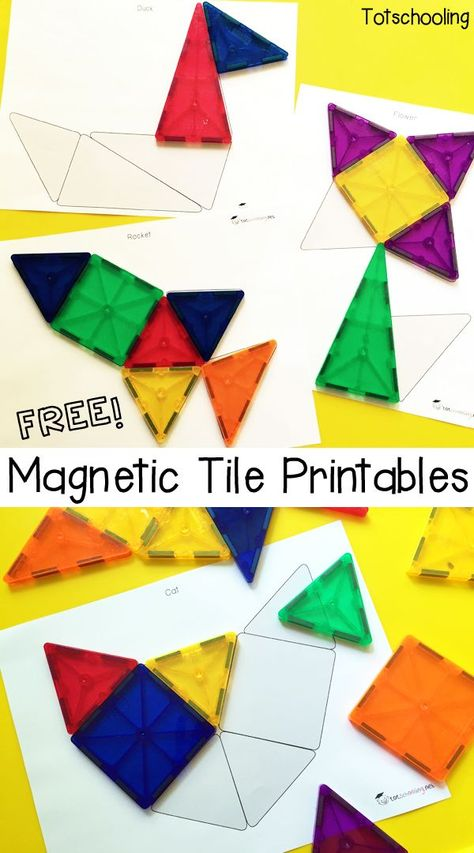 Free Magnetic Tile Printables - Fun Activities for Kids - Free Magnetic Tile Printables Preschool Printables, Preschool Lessons, Preschool Science, Preschool - Free Preschool, Preschool Printables, Preschool Lessons, Preschool Classroom, Preschool Worksheets, Preschool Shapes, Shape Activities Kindergarten, Science Lessons, Toddler Preschool