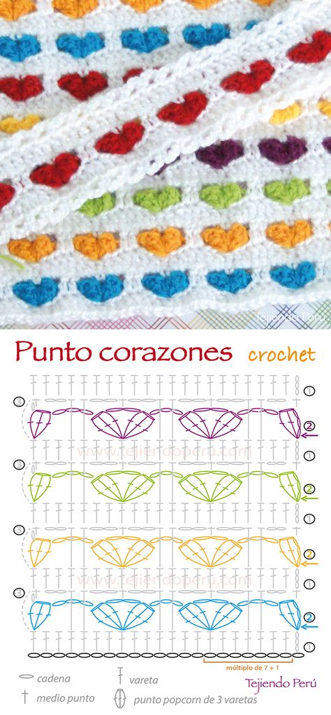 Crochet: diagrama de la puntada corazones tejida a crochet! ༺✿ƬⱤღ  http://www.pinterest.com/teretegui/✿༻
