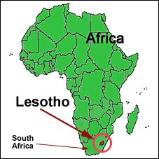 Map Showing Location Of Lesotho Africa Southern Pinterest - Lesotho maps with countries