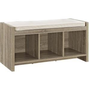 Stupendous Ameriwood Pebblebrook Weathered Oak Entryway Storage Bench Gmtry Best Dining Table And Chair Ideas Images Gmtryco