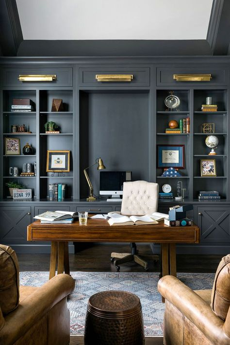 Home Office Trends for Fall and Beyond: How a Pandemic Changed the Way We Work! Home Library Design, Office Interior Design, Office Interiors, House Design, Office Designs, Home Office Setup, Home Office Space, Office Ideas, Desk Office