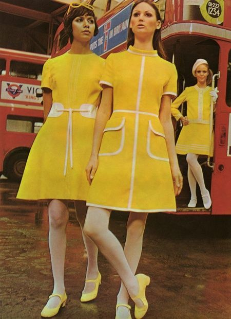 Vintage Dresses Baby Doll Style with Mary Jane Shoes - fashion history for women. A return to youth, shocking colors, shorter hemlines, pop art and the hippie movement. What did women wear?