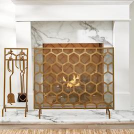 Honeycomb Fire Screen Tool Set Shop Wall Decor Fireplace
