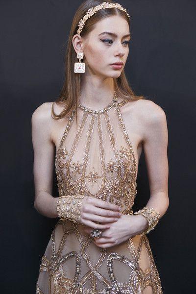 Lauren de Graaf backstage at Elie Saab Haute Couture Spring/Summer 2017