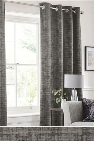 Grey Distress Soft Velour Eyelet Curtains | pink and grey ...