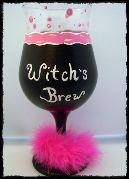 Witch's Brew Hand Painted Wine Glass