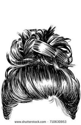 Messy Bun Outline : messy, outline, Drawing, Messy, Ideas, Sketch,, Hair,