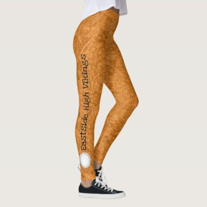 Volleyball Team Name Patterned Orange Leggings Women Woman Style Stylish Unique Cool Special Cyo Gift Id Volleyball Leggings Women Volleyball Orange Leggings