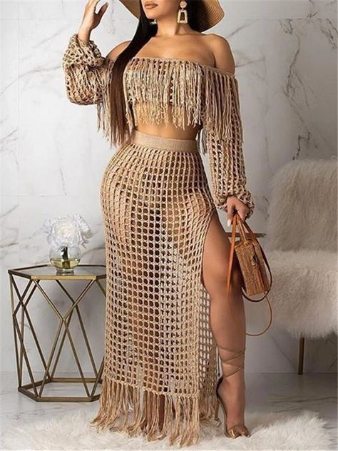 Hollow Out Off the Shoulder Tassels Two Piece Dress – Prilly plus size dress maxi dresses maxi skirt outfit maxi dress outfit maxi dress summer maxi dress casual long dress casual summer dress outfit #womendress#womenfashion#holidayoutfits#vintageholiday#plussize