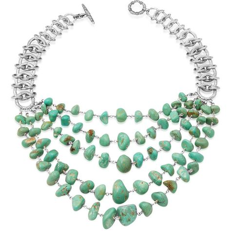 Stephen Dweck Five-Strand Turquoise Link Necklace (€2.010) ❤ liked on Polyvore featuring jewelry, necklaces, silver, carved necklace, strand necklace, stephen dweck jewelry, stephen dweck necklace and stephen dweck