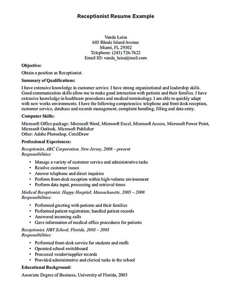 Receptionist resume is relevant with customer services field - examples of receptionist resume