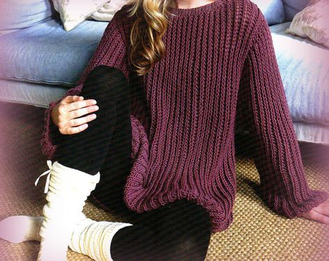 PDF Knitting Pattern for Ladies Sloppy Joe Aran Jumper to Fit 30-50