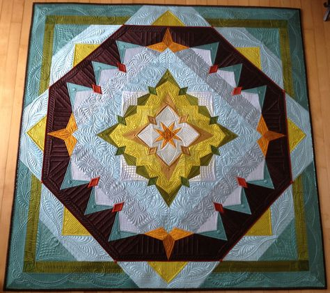 """""""Autumn's Surrender"""", made and quilted by Margaret Solomon Gunn, 2014, silk Radiance, www.quiltsoflove.blogspot.com"""