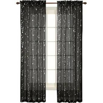 Clarkstown Floral Semi Sheer Rod Pocket Single Curtain Panel Panel Curtains Curtains Colorful Curtains