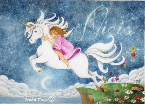 Ilustración Isabel Osma  Alicia vuela en su unicornio