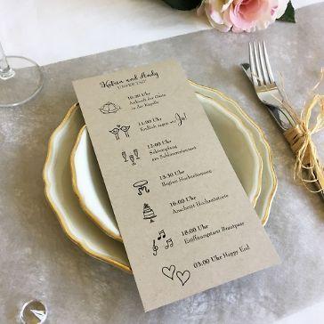 Programmkarte Fur Die Hochzeit Kraftpapier 21 X 10 Cm Hochzeit Ablauf Tagesablauf Hochzeit Hochzeit