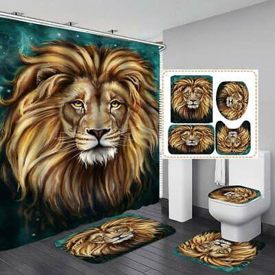 Brown Lion Head Shower Curtain Bath Mat Toilet Cover Rug Bathroom Decor