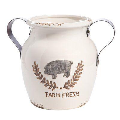 Gracie Oaks Briaroaks Ceramic Farm Fresh Pig Table Vase Table Vases Farm Fresh Farm Fresh Milk