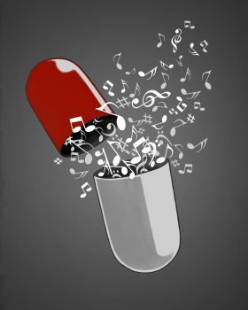 'Music Pill' Metal Poster Print - Angrymonk  | Displate