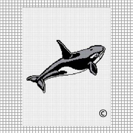 Crochet Patterns WHALE ORCA Graph Afghan Pattern **EASY//BEGINNER***