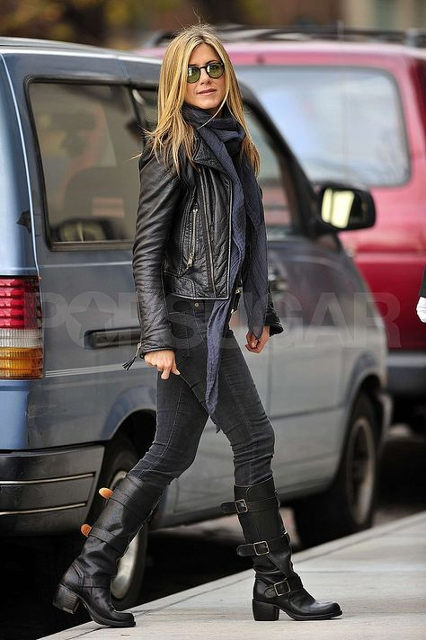 Style with leather jacket: Jennifer aniston killed it with this outfit. Love the all black and then the brown boots. Nice casual outfit, perf for winter