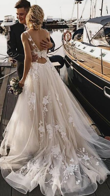 Tulle A Line Boho Floral Appliques Beach Wedding Dress Sw296 In 2020 Beach Wedding Dresses Backless Beach Wedding Dress Boho Vintage Bridesmaid Dresses
