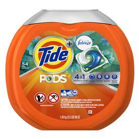 Tide Pods Plus Febreze 54 Count Botanical Rain He Capsules Laundry