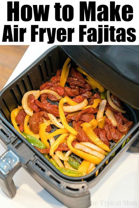 Air Fryer Beef Fajitas are so easy to make! We used beef with a dry rub, onions and bell peppers and they were great in our Ninja Foodi and Cosori machines. #airfryer #airfryerrecipes #fajitas #beef #dinner #healthy #lowcarb #keto #RecipesforAirFryers