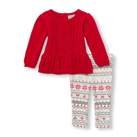 e221b2bff Newborn Baby Long Sleeve Peplum Cable Sweater And Fair Isle Printed  Leggings Set - Red - The Children's Place