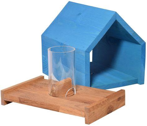Hochwertiges Eiche Vogelfutterhaus Mit Futtersilo Und