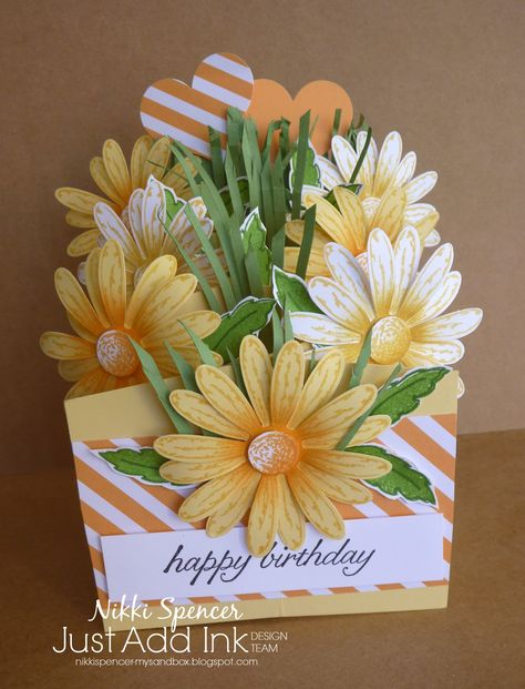 """Its time for new Just Add Ink challenge and this week Tina has suggested we all use a """"D"""" element on our projects. Fun Fold Cards, 3d Cards, Folded Cards, Handmade Birthday Cards, Greeting Cards Handmade, Cascading Card, Pop Up Box Cards, Shaped Cards, Stamping Up Cards"""