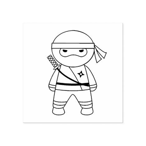 Little Ninja Warrior Color Me Rubber Stamp Zazzle Com Ninja