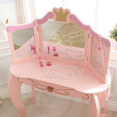 Kidkraft Princess Vanity Set With Mirror Disney Princess Room Girls Princess Room Girls Princess Bedroom